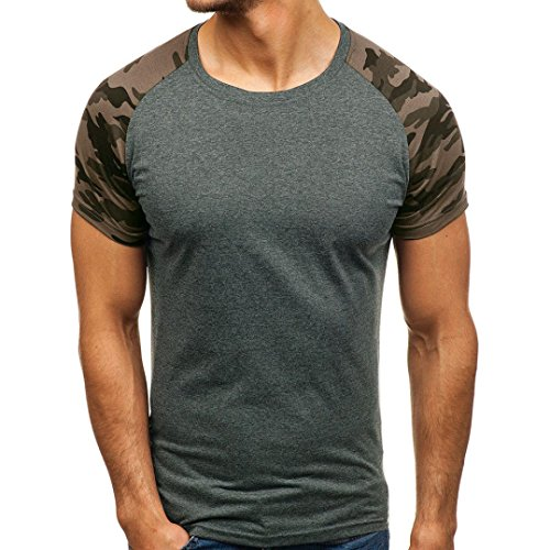 T Shirt Herren, HUIHUI Coole O-Ausschnitt Kurzarm Sweatshirt Slim Fit Basic uv Polo-Shirt Mode Sport Oberteile Oversize Bench Tops Baseball Sommer Freizeit Hemd Poloshirt (L, Grau)