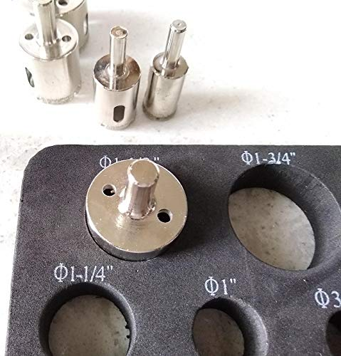 Drilax Diamond Hole Saw Drill Bit 5 Pcs Set Long 3/4 1 1-1/4 1-1/2 1-3/4 Inch Ceramic Porcelain Tile Glass Granite Slate Insert Guide Included