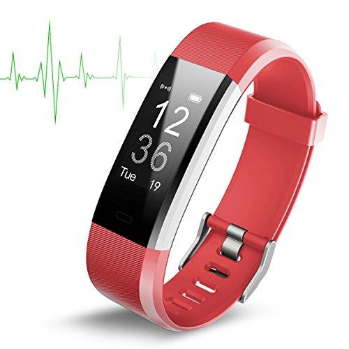 Wasserdichtes (IP67) Fitnessarmband mit Herzfrequenz-Monitor und Schrittzähler, 2,4cm OLED-Bildschirm, Bluetooth 4.0,drahtlose Smartwatch mit USB-Ladekabel, Herren, rot