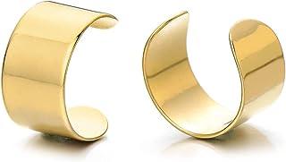 2 Pezzi Oro Colore Clip-on Orecchini a Cerchio, Orecchini da Uomo Donna, Ear Cuff, Acciaio Inossidabile