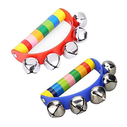 Newin Star Sonajeros Bebes,Sonajero de cascabeles,Handbell de Madera Musical Instrumentos Musicales para niños y Bebes (Arco Iris)