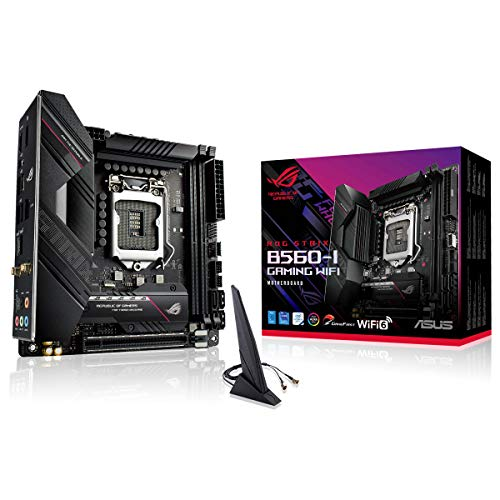 ASUS ROG STRIX B560-I GAMING WIFI, Scheda madre Gaming Intel B560 LGA 1200 Mini-ITX, PCIe4.0, 8 fasi di potenza, WiFi 6 (802.11ax), Lan 2.5 Gb, 2x M.2, USB 3.2 Gen 2x2 USB Type-C, Aura Sync RGB