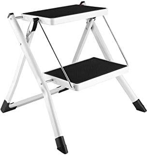 Gimify 2 Step Stool, Folding Step Ladder Mini Steel Stepladders Anti-Slip Sturdy Steps Wide Pedal with Portable Handle Lig...