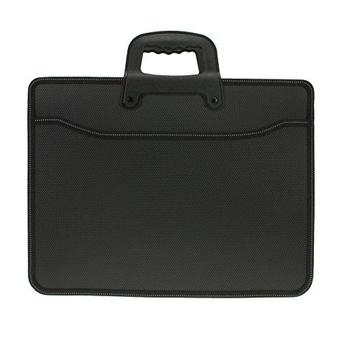 Cartella portadocumenti formato A4, con cerniera e manico, impermeabile, espandibile, ideale per pc portatile, unisex, colore nero Misura unica Tipo di base