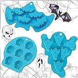 3 Piezas Molde Reposteria Silicona / Moldes De Silicona Tartas Halloween / Fantasma, cráneo esquelético, murciélago