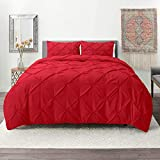 Nestl Pintuck Duvet Cover Set   Pintuck Comforter Cover  Red Duvet Cover Twin   2 Piece Pinch Pleat Duvet Cover   Ultra Soft Microfiber Hotel Collection