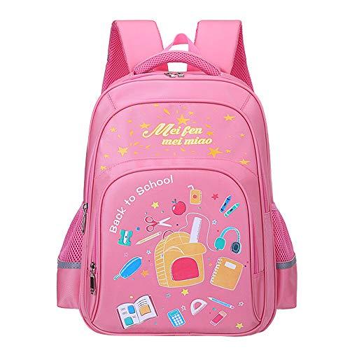 SHPEHP Kinderrucksäcke, Kinderschultaschen mit weichem, gepolstertem und verstellbarem Schutzgurt, geeignet für Jungen und Mädchen in der Grundschule, mit Sicherheitsreflektor (Klasse 1-3-6)-Pink-L