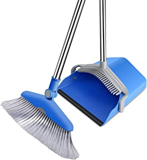 Masthome Angle Broom and Lobby Dustpan Set Standing Upright Grips Sweep Set with Long Handle for Home Office Cleaning
