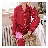 Mujer Satin Pijama Set - Conjunto De Pijama De Satén para Hombre - Conjunto De Pijama con Botones De 2 Piezas Cárdigan Casual Ropa De Dormir De Manga Larga - Primavera Otoño Top Y Pantalo