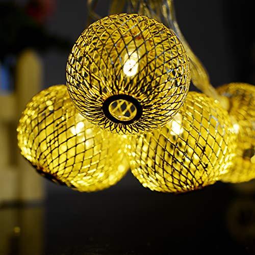 Les Lantern Lichtketting, waterdicht, led-snoer Fee, voor buiten, solar-lichtketting van smeedijzer, 20 lampen, blauw