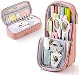 2 in 1 Big Capacity Pencil Pen Case+Pencil Pen Holder, Office College School Large Storage High Capacity Box Organizer Pink