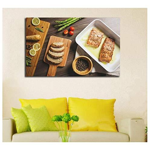 Oneam kip tarwe brood specerijen lekkere levensmiddelen canvasdruk slaapkamer decoratieve print canvas 50 x 90 cm zonder lijst