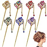 7 Pieces Tassel Hairpins Chinese Traditional Vintage Hairpins and Antique Plate Wedding Flower Leaf-Shaped Headdress Hair Accessories