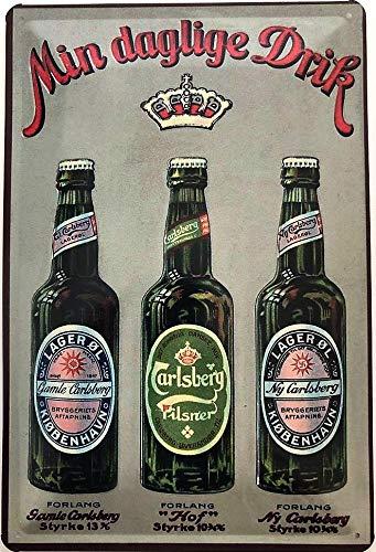 Deko7 Blechschild 30 x 20 cm Carlsberger Bier 3 Flaschen