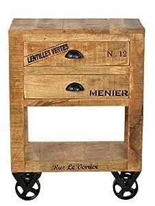 SIT-Möbel 1956-02 Kommode rustic mango-antikfinish mit gewollten Gebrauchsspuren, 60 x 30 x 80 cm, 2 Schübe, 4 Rollen