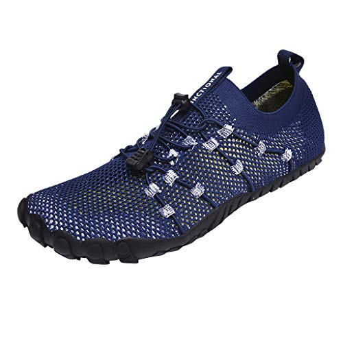 Read About Mens Aqua Shoes with Arch Support Blue Barefoot Quick Dry Beach Water Shoes Slip-on Mesh ...