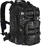 WolfWarriorX Small Tactical Backpack Military Assault Pack Rucksack Molle Bag (Black Multicam)