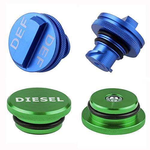 Magnetic Diesel Fuel Cap for Dodge, Billet Aluminum Diesel Fuel Cap Accessories and Blue DEF Cap for Dodge Ram Truck 1500 2500 3500 (2013-2019) Combo