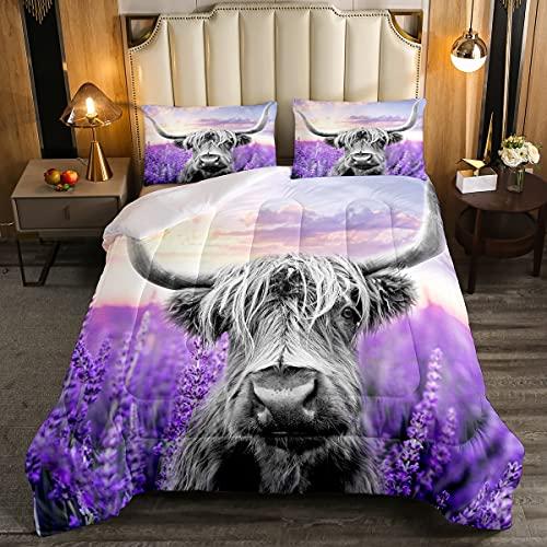 Highland Cattle Comforter Boys Kids Girls Lavender Flower Sea Comforter Set Full Size Home Decor Western Farmhouse Theme Bedding Set Wild Animal Bedroom Down Duvet,1 Comforter with 2 Pillowcase