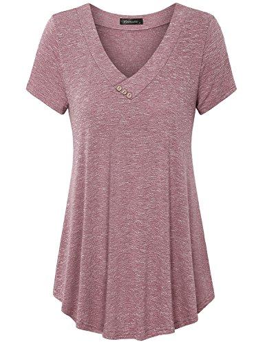 Vinmatto Women's Summer Short Sleeve V Neck Flowy Tunic Top(XXL,Pink)