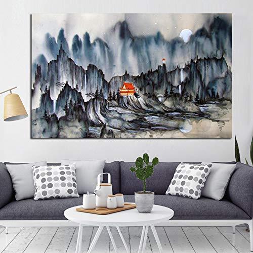 tzxdbh print canvas schilderij op canvas schilderij abstracte bergen Chinese traditionele kalligrafie muurschilderij aan de muur, huishoudtextiel op de woonkamer bank 50X75
