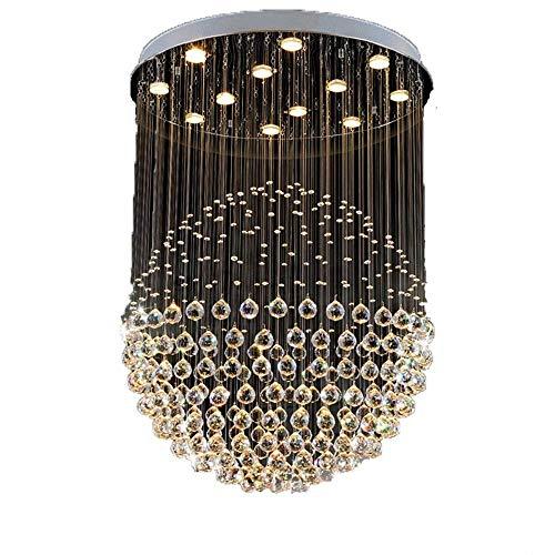 MJK Candelabros de novedad, candelabro de gota de lluvia en espiral de cristal K9 moderno, iluminación de montaje empotrado, accesorio de luz de techo, lámpara colgante para comedor, dormitorio, sala