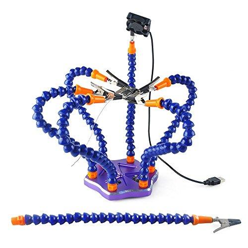 Crazepony-DE Lötstation Werkzeug mit 7 Stück Helfende Hände, Rutschfeste Aluminiumbasis, eingebaute Schalen, hitzebeständige Abdeckungen, 360 Grad schwenkbare Klipps, bürstenloser DC-Ventilator-Purple