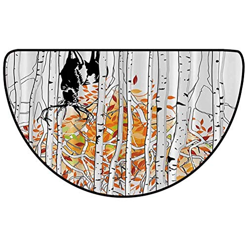 29' L x 17' W Deer Decor Comfortable semicircular Floor mat Absorbent and Durable Deer in Forest Autumn Golden Colors Trees Foliage Wilderness Seasonal Artwork Orange Green White