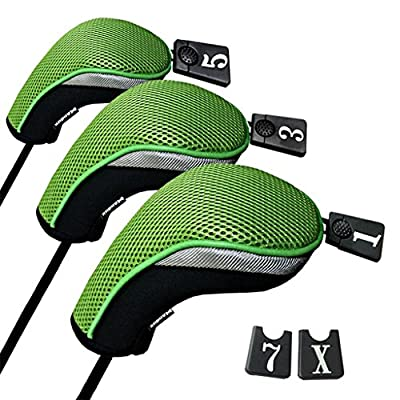 Andux Golf 460cc Driver Wood Head Covers with Interchangeable No. Tag Set of 3 Mt/mg05 Black/Green