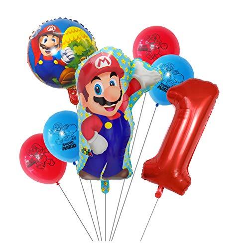 LIANGLMY Globo 7 unids Mario Globos 30 Pulgadas Número Globo Chico Cumpleaños Decoración Decoración de Dibujos Animados Game Theme Party Supplies Niños Juguetes (Color : Red-1)