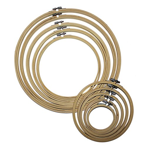 Cerchi da Ricamo (10Pcs) - Telai in Legno bambù Ricamo Cucito - Kit Telai Assortiti in Legno Punto Croce - Tessuto e Materiale Fissato nel Cerchio Interno per Modello