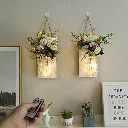 NUOLANDE Weckglas Fernbedienung Lampe, Retro Wandlampe Raumdekoration Führte Kupferdraht-Lampe, Feiertagsdekoration Lichterkette (2 Stück) Führte,B