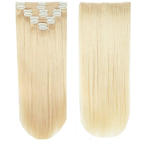 Clip in extensions echthaar Doppelt Tressen 100% Remy Echthaar 8 teiliges set Haarverlängerung dick (50cm-150g,#60 Weißblond)