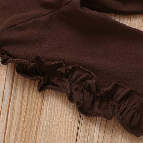 uBabamama Pajamas Set for 0-3 Years Toddler Kids Baby Girls Ruffled Long Sleeve Sweatshirt Tops +Solid Color Pants(Brown,2-3 Years/110)