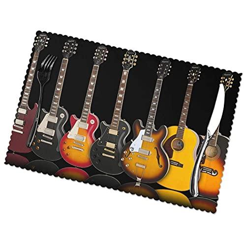 WANGJINGHUA Juego de 4 manteles Individuales de poliéster con Estampado de Guitarra...