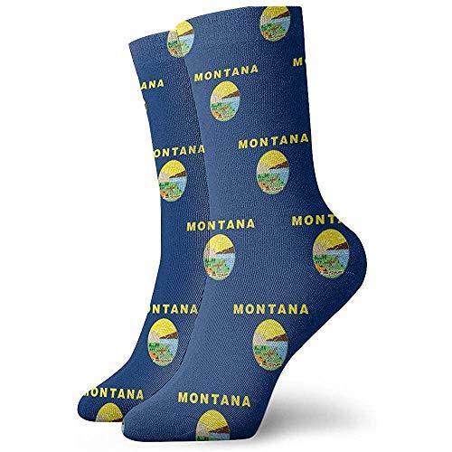 Not Applicable High Performance Tennissocken,Business Socken,Sport/Sneaker Socken,Anzug-Socken,Montana Flag Pattern Feuchtigkeitskontrolle Laufsocken Langlebige Atmungsaktive Trainingssocken