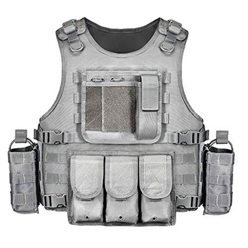 Chaleco táctico Combate del entrenamiento del chaleco, MOLLE sistema chaleco táctico 600D Poliéster cifrado incorporado en el compartimiento del bolsillo de la cintura puede ser de tamaño extendido 95
