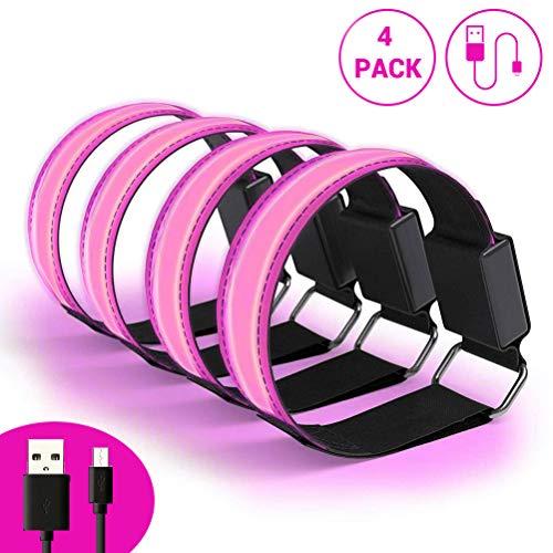 4 stuks led-armbanden, veiligheidsreflector, USB-oplaadbaar, 3 modi, led-lichtband, reflecterende band voor hardlopen, joggen, fietsen, hondenwandelen, hardlopen, outdoorsports Poeder.