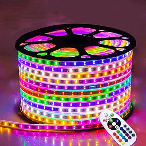 JXCAA LED Luces De Tiras Regulables, Tira De Luz Led, Carpa De Colores Que Cambia De Color, Tira De Luz Impermeable Al Aire Libre, Un Rollo De 100 Metros