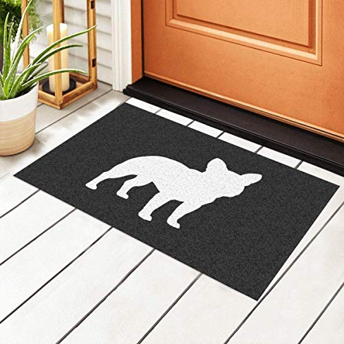 Indoor Door Mat,French Bulldog Silhouette Frenchie Dog Entrance PVC Doormat with Nonslip Waterproof Backing,23.6X15.7 inch – Low Profile, Non Slip Rubber Backing