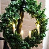 Bigbarry CálidoBrillante Conjunto de 10 Parpadeo Control Remoto LED conicidad Tealight Vela w / 7keys Controlador Clip de Boda Navidad de la Navidad Blanco decoración-cálido (Color : Warm White)