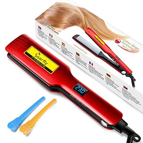 Soarfly Plancha de pelo de hierro plano iónico de turmalina de cerámica, planeador profesional para salón de instrumentos, barra de temperatura ajustable, para todo tipo de cabello (red)