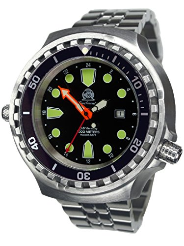 Reloj de buceo automático de 52 mm, indicador de 24 horas, cristal de zafiro, correa de acero inoxidable T0309M.