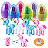 HOOJO 6 Pack Deformation Unicorn Prefilled Easter Eggs with Toys Inside for Girls, Surprise Eggs for Easter Hunts, Basket Stuffers, Party Favor