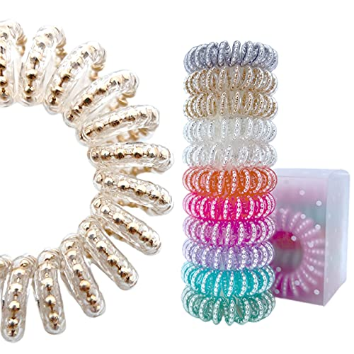 Yeegle Spiral Hair Ties No Crease, Colorful Traceless Hair Ties, Luxurious Elastic Coil Hair Ties for Women Girls, Phone Cord Hair Tie with Beads, Waterproof Hair Coils for Any Kinds of Hair (11PCS)