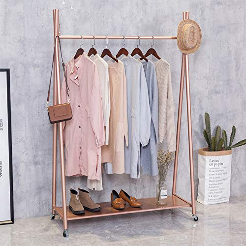 FURVOKIA Modern Simple Heavy Duty Metal X Type Rolling Garment Rack with Wheel Retail Display Clothing RackIron Floor-Standing Shoes Bags Clothes Organizer Storage Shelves Rose Gold