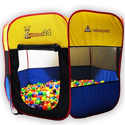Bällebad24 Ø170cm XXL POP UP Ballpool Bällebad Kinder Pool Bällchenbad Spielzelt Bällehaus Spielhaus !Achtung Wild!