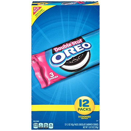 Oreo Double Stuf Chocolate Sandwich Cookies - Snack Packs, 12 Count Tray, 18 Ounce