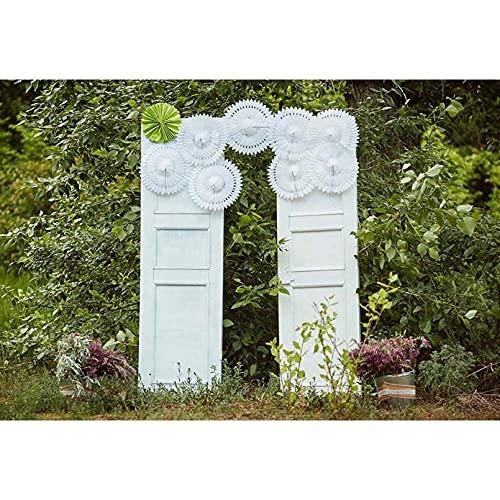 Fondos fotográficos Fondo de fotografía de Vinilo Puerta de Madera Blanca Fondos de fotografía de Boda Exterior para Foto de estudio-10x6.5FT