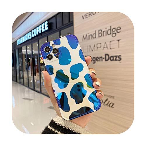 Blu Ray Patrón de leche de dibujos animados teléfono caso para iPhone 12 Pro Max 11 12Mini X Xr Xs Max 7 8 Plus moda suave teléfono móvil Shell-azul-para iPhone 7 8Plus